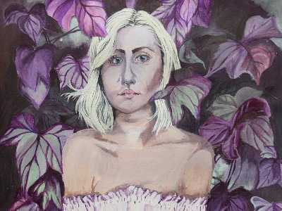 painting of a girl in purple forest